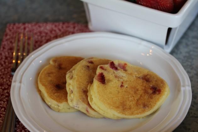 Gluten Free Strawberries and Cream Pancakes lynnskitchenadventures.com