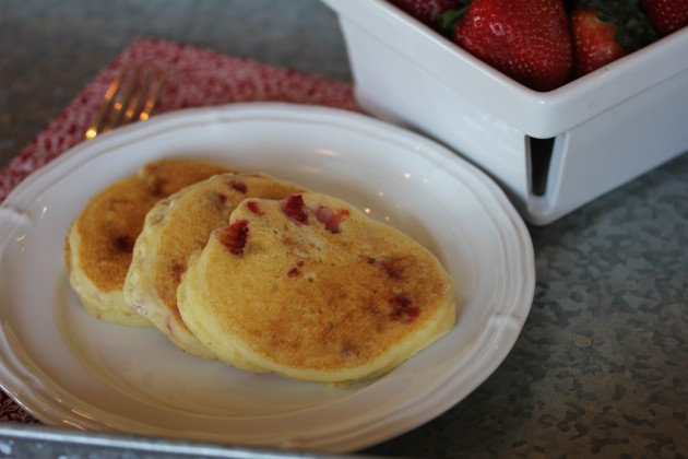 Gluten Free Strawberries and Cream Pancakes from lynnskitchenadventures.com
